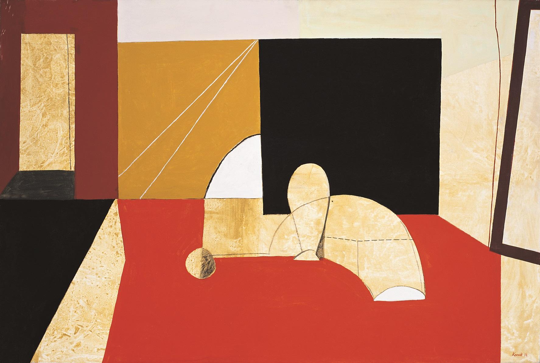 KONOK TAMÁS (1930):  Interieur  rouge 1974,  Akril, vászon  97  ×  140  cm