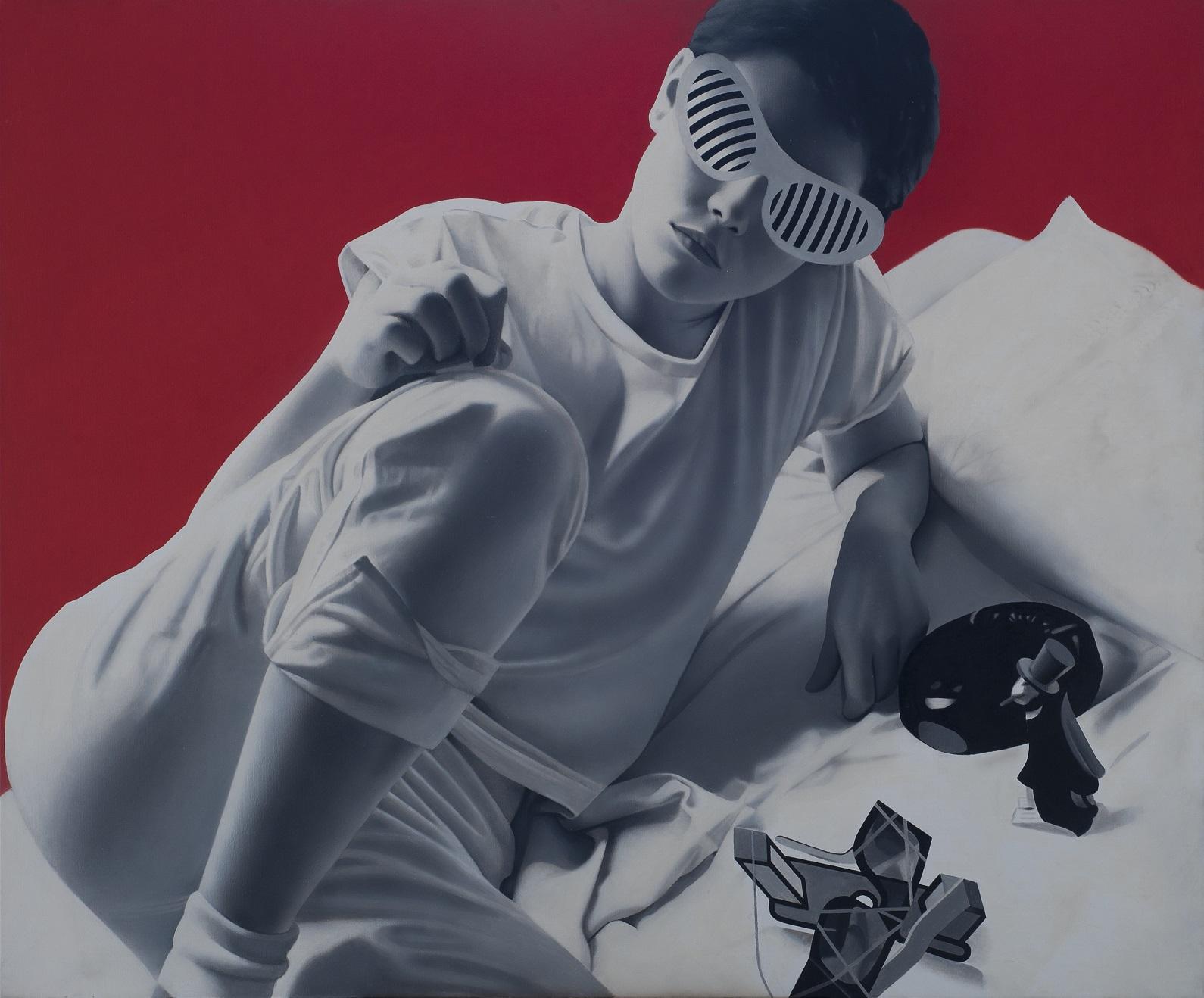 MÉHES LÓRÁNT (1951): Marietta Zuzu-szemüvegben 2005 Olaj, vászon 140 × 170  cm