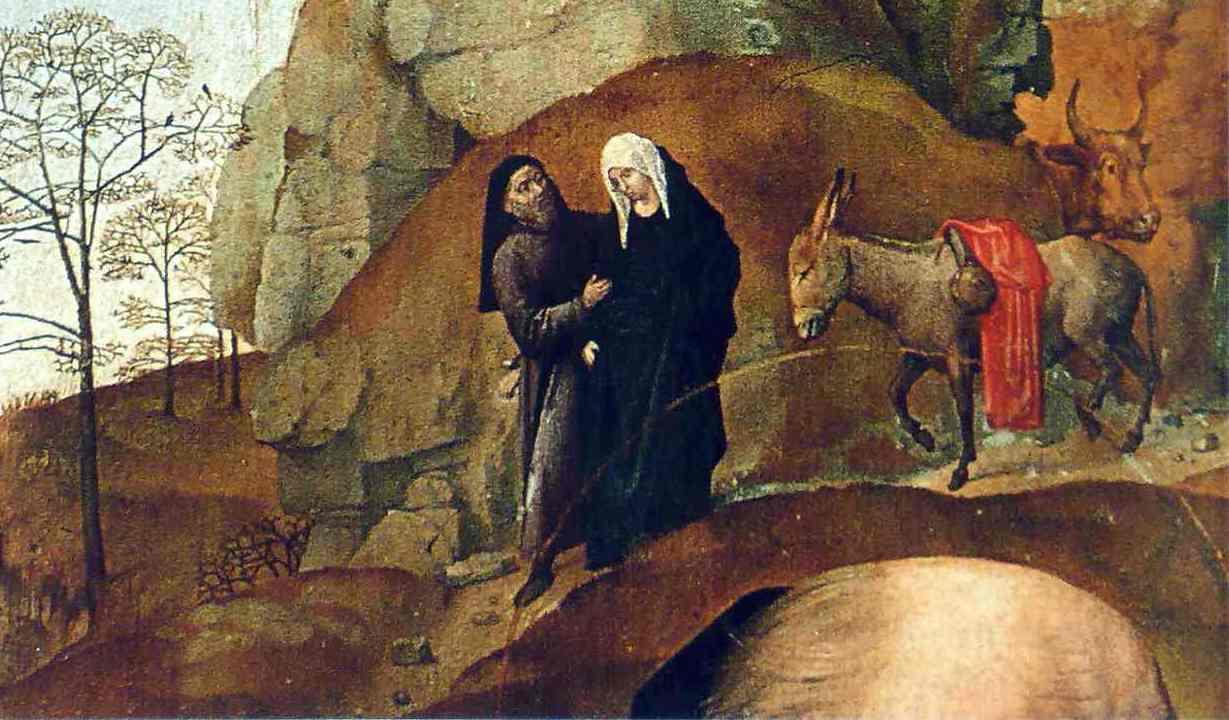 Mária és József úton Betlehem felé – Hugo van Goess: Portinari oltárkép (részlet) 1470 körül, Uffizi Képtár