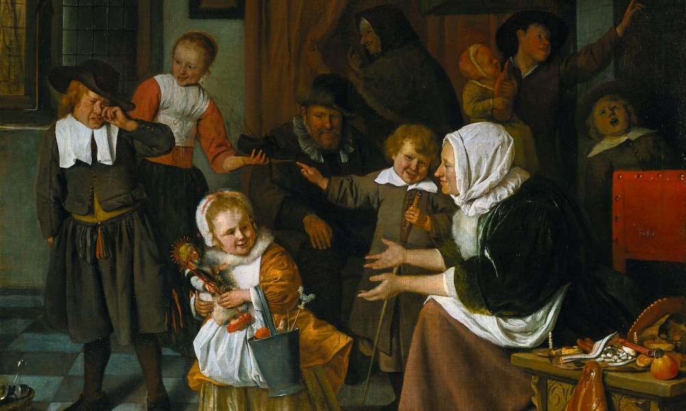 Jan Steen, Szent Miklós ünnepe, 1665-68. A holland hagyomány szerint ' Sinterklaas' vagyis Sint Nicolaas Spanyolországból érkezik hajón, átül fehér lovára és mór segítőivel hordja szét az ajándékokat a kéményeken keresztül a gyerekek cipőibe december 5-én. Jan Steen az életképek festője ezt a családi ünnepet is humorral ábrázolja. A csibész nagyfiú csak virgácsot kapott és zokog a beteljesült fenyegetés láttán, amin öccse persze kajánul vigyorog. Forrás: ARTutazó FB
