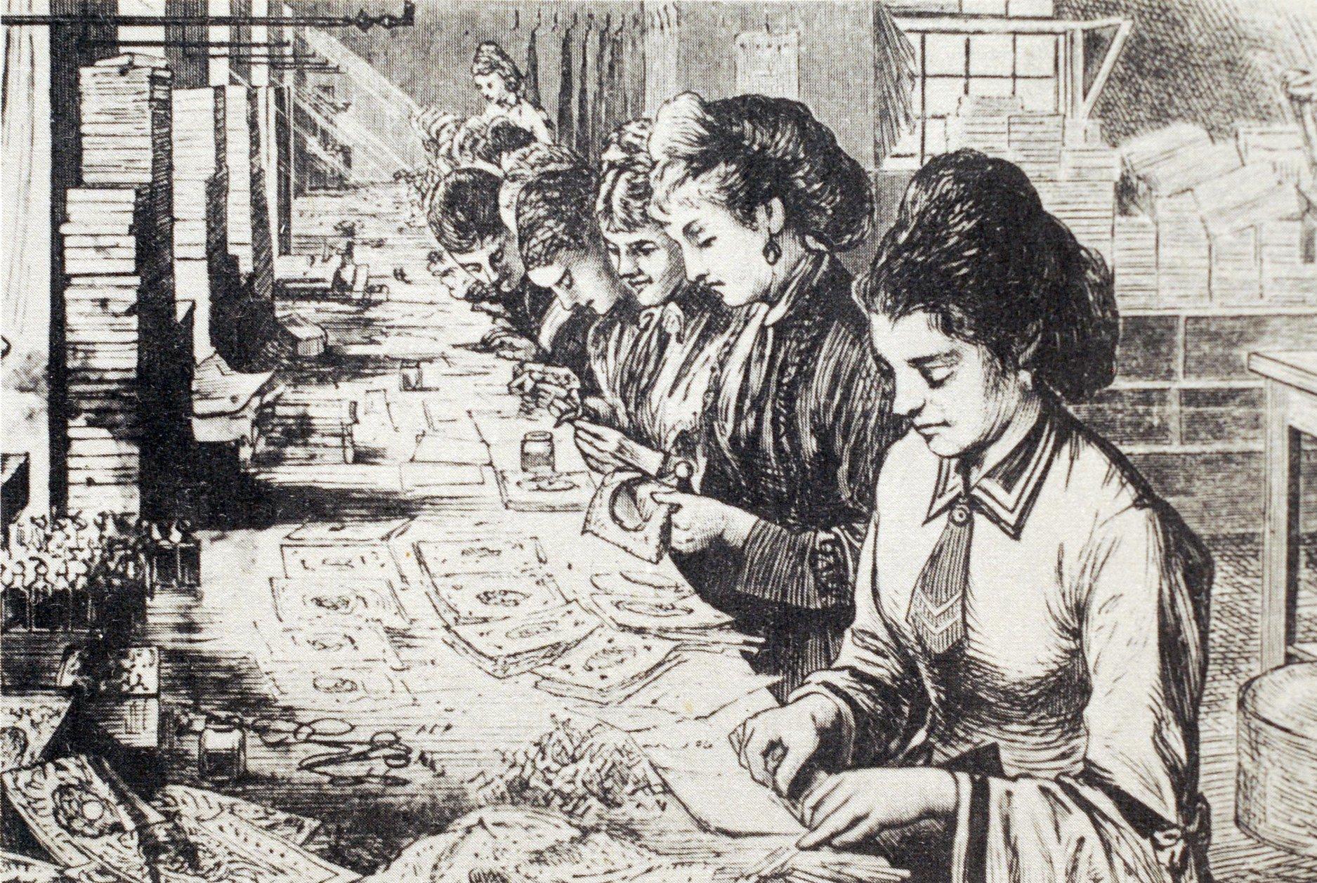 Valentin-napi képeslapokat készítő munkásnők Esther Howland műhelyében