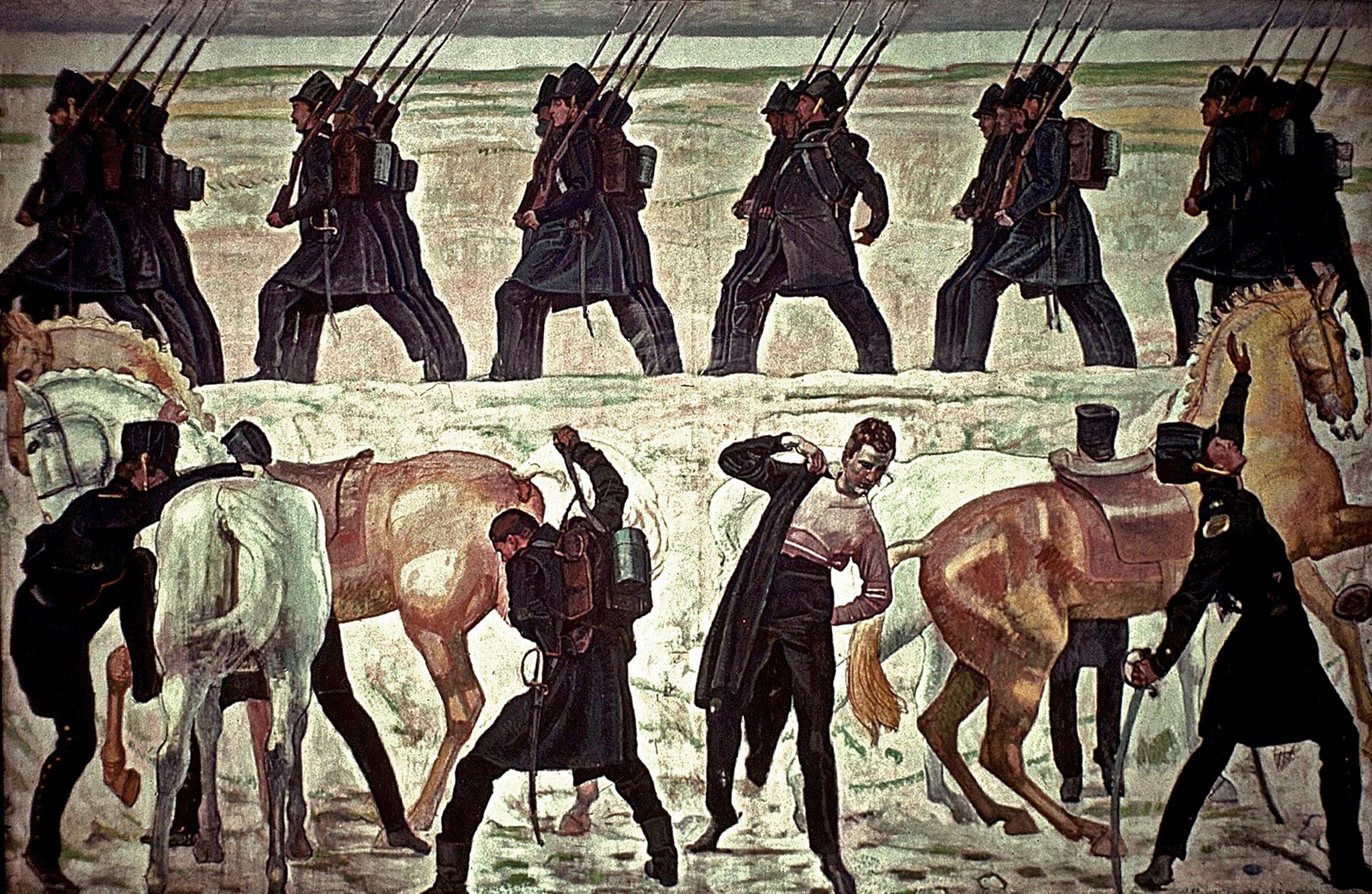 Harcba indulnak a jénai diákok, 1813 (Ferdinand Hodler, 1908-09)
