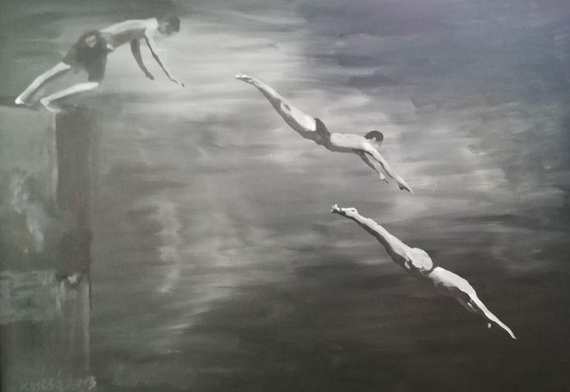 Koscsó László: Fürdőzők – akril, vászon, 70x100 cm