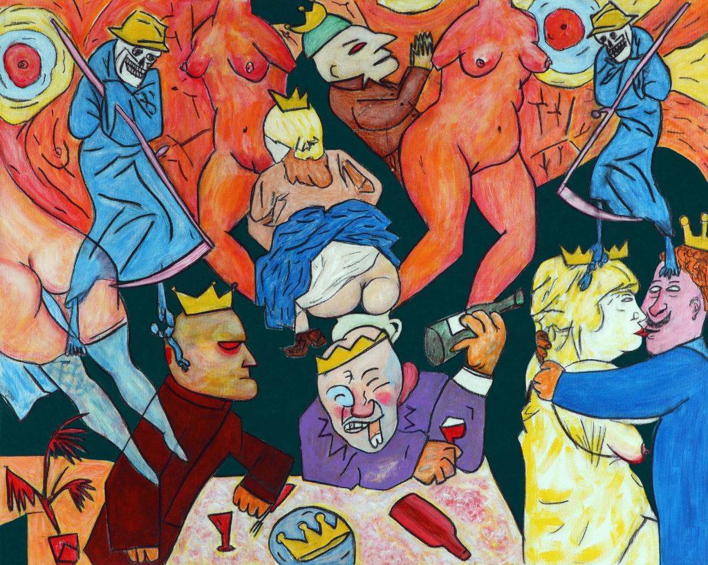 Karantén-buli Georg Grosz műtermében<br />80x100, akril, vászon, 2020