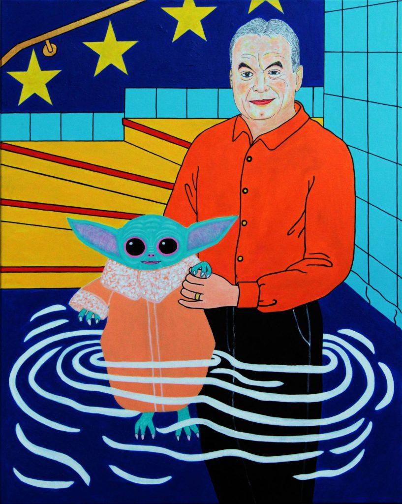 Orbán Viktor megvédi a koronavírustól Baby Yodát<br />100x80, giclée print vászon, 1/2 2020
