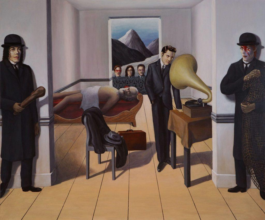 A kapitalizmus orvul meggyilkolja a kommunizmust Magritte műtermében<br />100x120, giclée print, vászon, 1/3 2020<br />