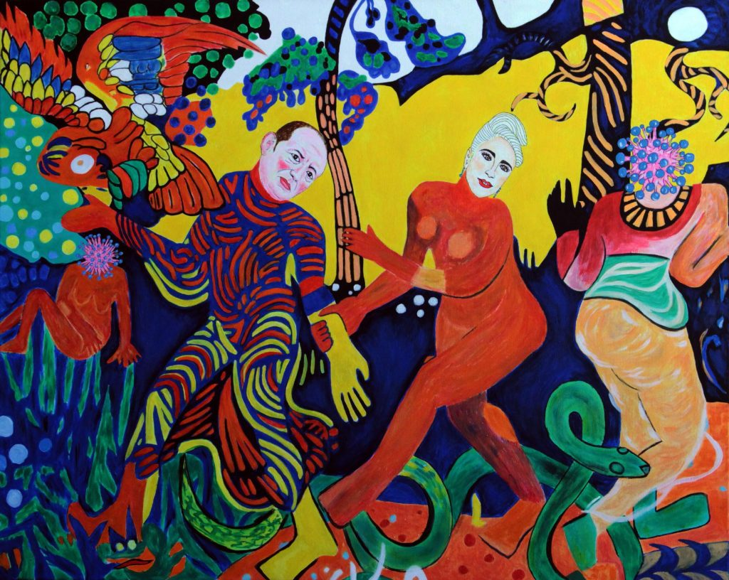 Győrfi Pál megtanítja az alapos kézmosás fortélyaira Lady Gagát, majd táncra perdül vele a koronavírusok elrettentésére Derain kertjében<br />80x100, giclée print, vászon, 1/3 2020