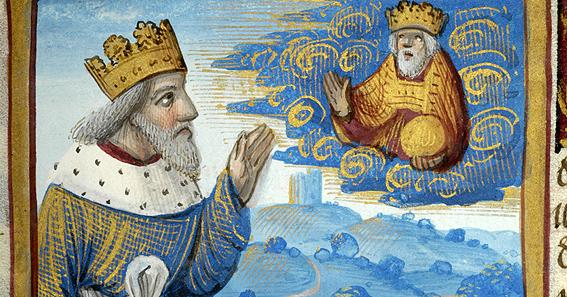 Dávid király Istennel beszélget – illusztráció egy francia, 1511 körül keletkezett breviáriumból – a kézirat a The Morgan Library & Museum (New York) tulajdona.