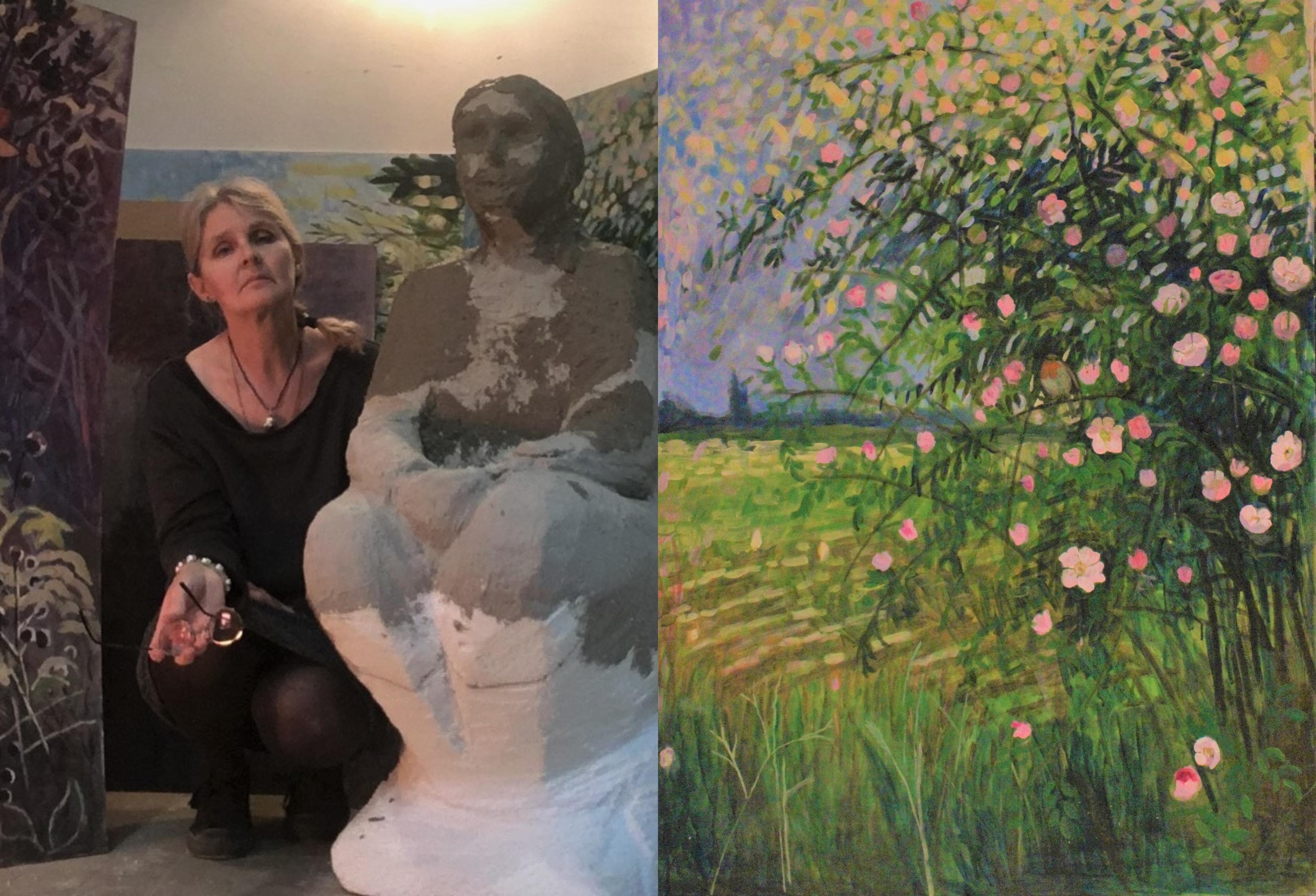 Makovecz Anna és Virágzó csipkebokor c. festménye