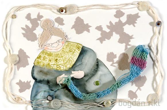 Bogdán Viki illusztrációja Íjjas Tamás: Bőröndapu című kötetéhez