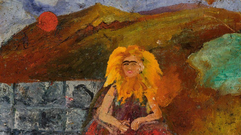 Frida Lángokban (Önarckép egy Napraforgó Belsejében), 1953-54,(Credit: Magángyűjtemény, USA. Photo courtesy of Mary-Anne Martin Fine Art New York)