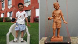 Szobor egy ötéves kisfiúnak