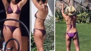 A bomba testű modell bikiniben játszadozott párjával