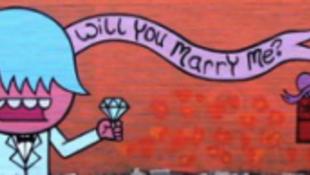 Lánykérés graffitivel