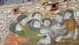 Roma művészek freskókat festenek