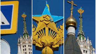 Ukrán színeket kapott a moszkvai csillag