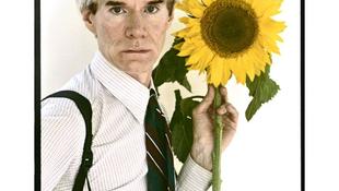 Andy Warhol napraforgóval pózol