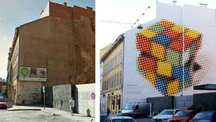 Óriási Rubik-kocka a falon