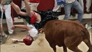 Megint nem vicceltek a bikák Pamplonában
