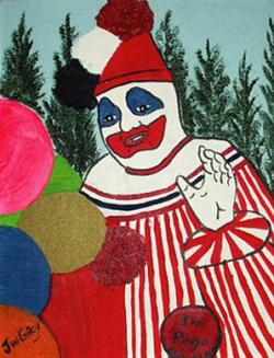 """Gacy """"Pogo a bohóc"""" néven jótékonyságból gyerekzsúrokban szerepelt. Ez egyik önarcképe."""