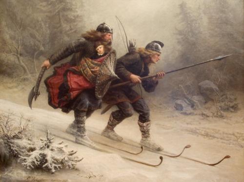 Knud Bergslien: Birkebeinerek menekítik a gyermek Haakon Haakonsont Trondheimbe   © Nordnorsk Kunstmuseum