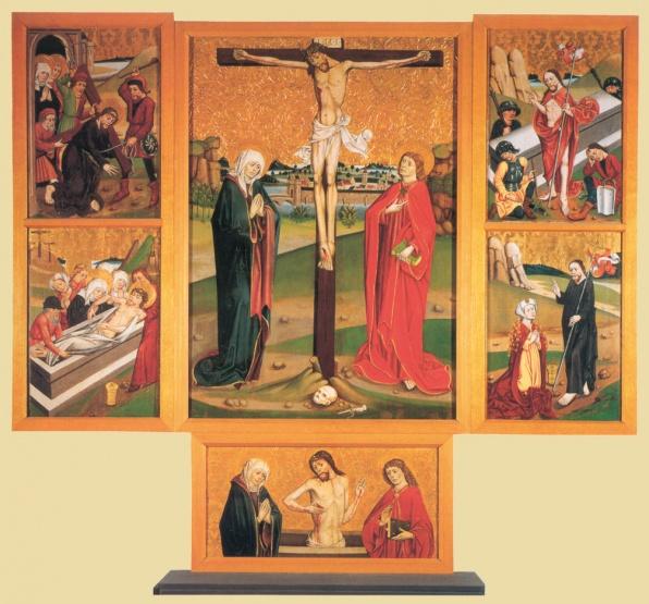 Jánosréti mester: Garamszentbenedeki Kálvária oltár, 1480 k., tempera, fa, Esztergom, Keresztény Múzeum