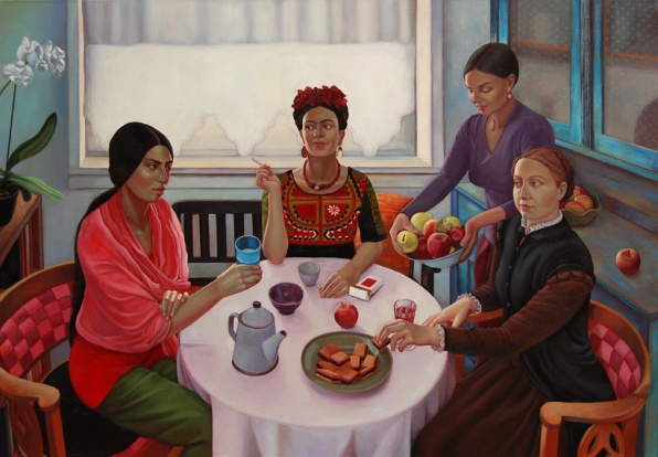 Festőnők vendégségben (90x130 cm / olaj, vászon, 2011)