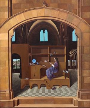 Kölcsönkapott dolgozószoba (89,5x64,5 cm / olaj, vászon, 2011)