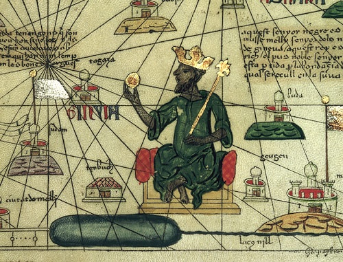 Mansa Musa ábrázolása egy térképen