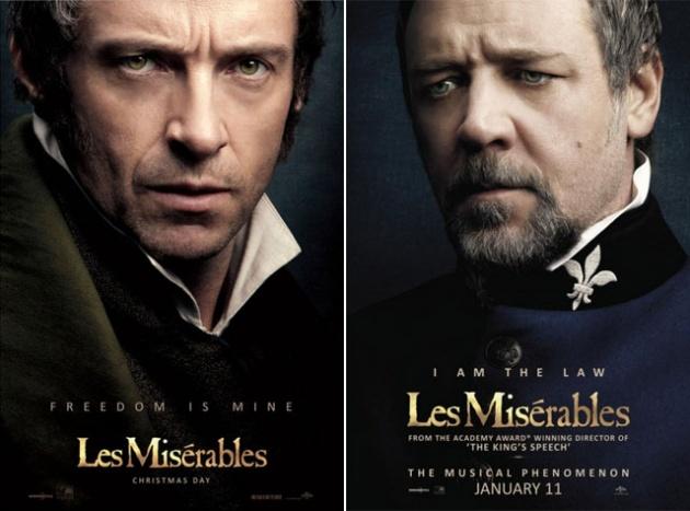 Jean Valjean és Javert: Huge Jackman és Russel Crowe