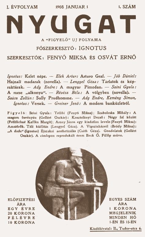 I. évfolyam 1. szám: 1908. január 1. (Forrás: epa.oszk.hu)
