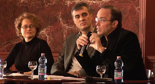 Gerencsér Anita, a Cinema Total projektmenedzsere, Dr. Szabó Dezső, a Balassi Intézet igazgatója és Can Togay János, a Collegium Hungaricum Berlin igazgatója