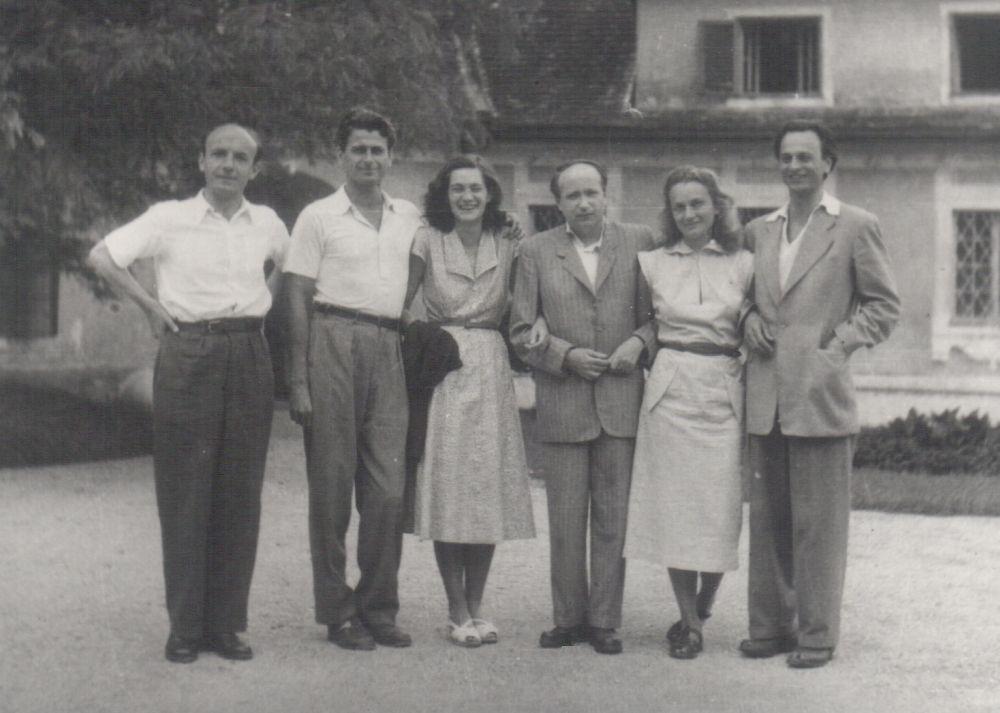 Kiss Tamás, Mészöly Miklós, Polcz Alaine, Kálnoky László, Nemes Nagy Ágnes és Lengyel Balázs - Baráti társasággal Szigligeten, 1954. július (Forrás: Digitális Irodalmi Akadémia)