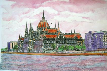 Szvetlana Maleta akvarellje a Parlamentről (Fotó: moszkva.balassiintezet.hu)
