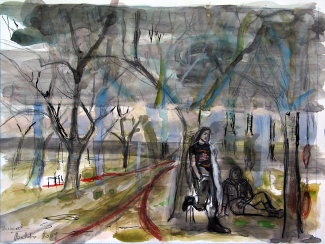 Bukta Imre : Rokkerek a szilvásban (grafit, vízfesték, tus, guas 2009 28,5x38 cm)