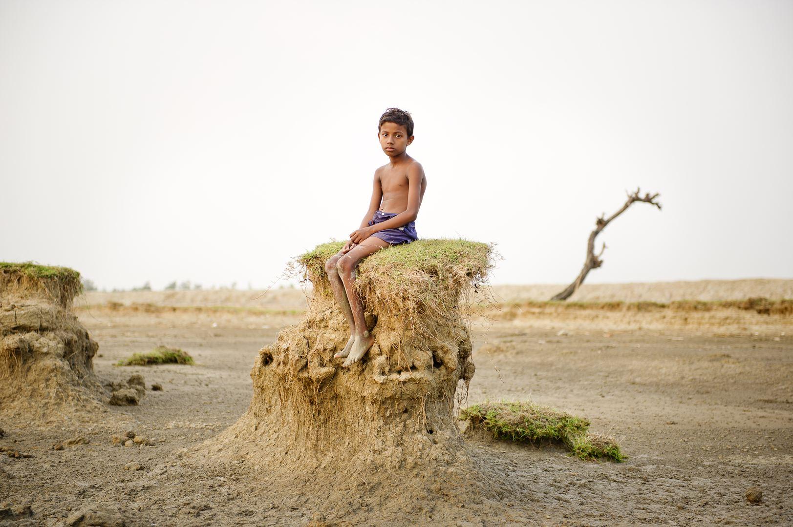 A globális felmelegedés miatt teljesen kiszáradt Ghoramara-sziget, Bengália nyugati részén (Fotó: Daesung Lee)