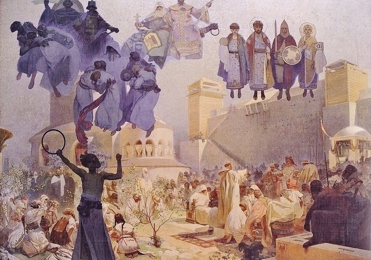 Alfons Mucha: A szláv liturgia bevezetése Nagy-Morvaországban