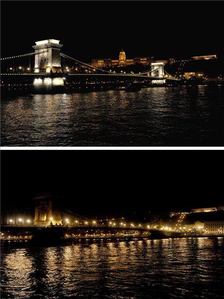 Az elsötétedő Lánchíd és a Budai Vár (MTI Fotó: Földi Imre)