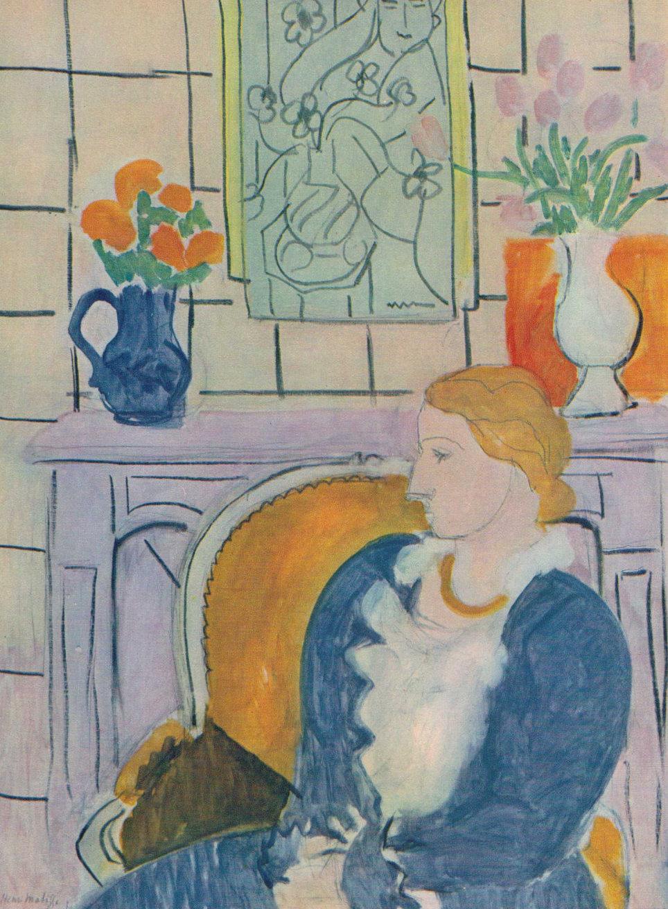 Matisse: Kék ruha egy sárga karosszékben (Fotó: etsy.com)
