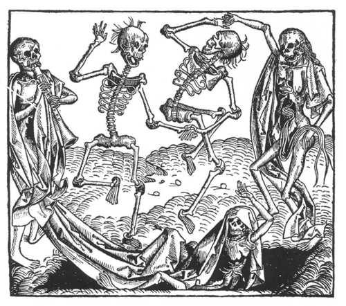 A bubópestis által inspirált haláltánc ábrázolása