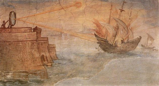 A legenda szerint egy római támadást úgy hiúsított meg, hogy tükrökkel felgyújtotta a támadó hajók vitorláit.