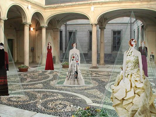 Öt nagyon attraktív estélyi ruha a palota belső udvarán három méter magas plexi piramisokban lesz látható (Fotó: museum.hu)