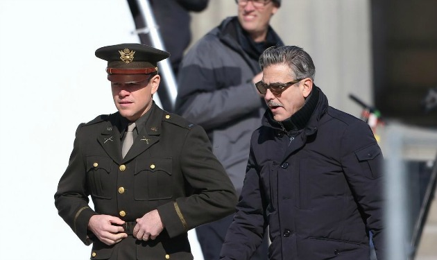 Matt Damon és George Clooney a forgatáson