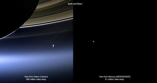 A Cassini és a Messenger fotója (Fotó: NASA/JPL-Caltech/Űrtudományi Intézet/ NASA/Johns Hopkins Egyetem Alkalmazott Fizikai Laboratórium/Washingtoni Carnegie Intézet)