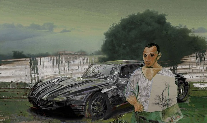 Ázbej Kristóf: Tájkép Lamborghinivel (Forrás: tatartgallery.com)