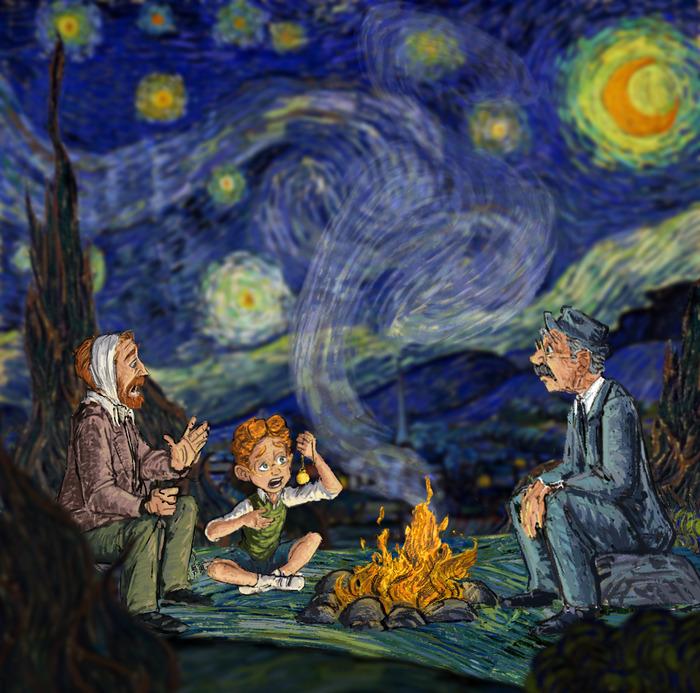 Csillagos éjszaka Van Gogh önarcképének előterében