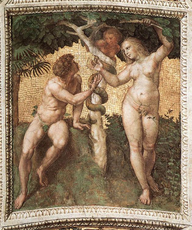 Raffaello: Ádám és Éva - freskó a Stanza della Segnaturában (1508)