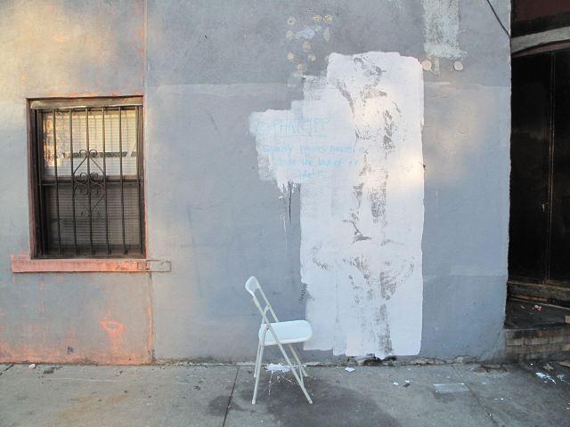 Banksy első New York-i graffitijének hűlt helye (Fotó: thelodownny.com)