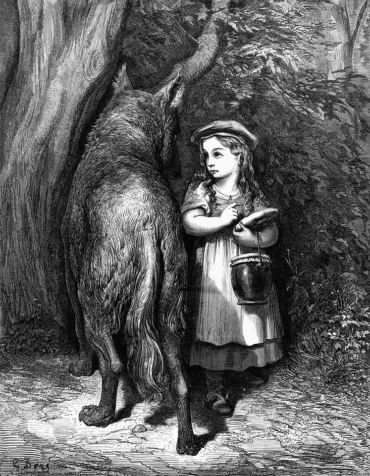 Gustave Doré Piroska és a farkas illusztrációja (Forrás: en.wikipedia.org)