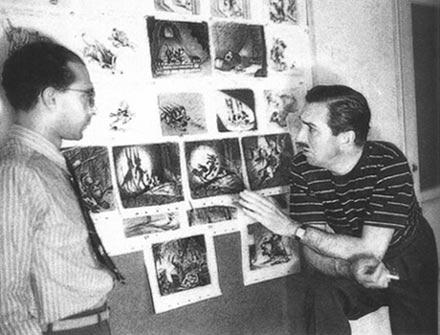 A kép jobb oldalán Walt Disney cigarettával a kezében (Fotó: jimhillmedia.com)